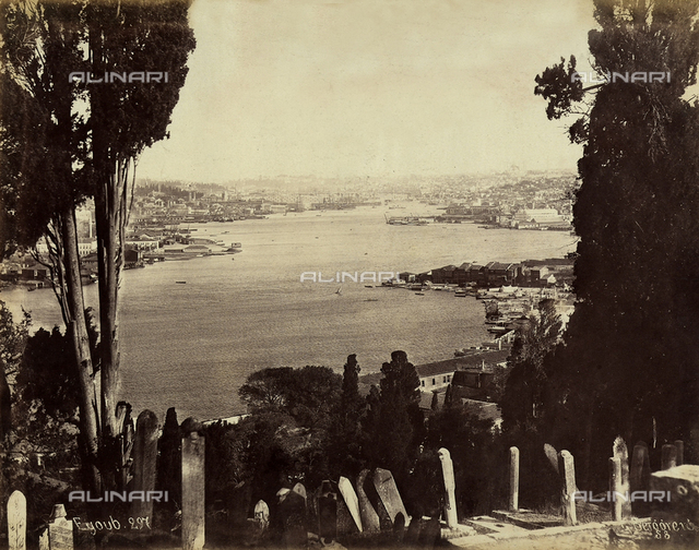 View of the Eyup quarter of Constantinople, on the stretch of sea referred to as the Golden Horn, which flows into the Marmara Sea