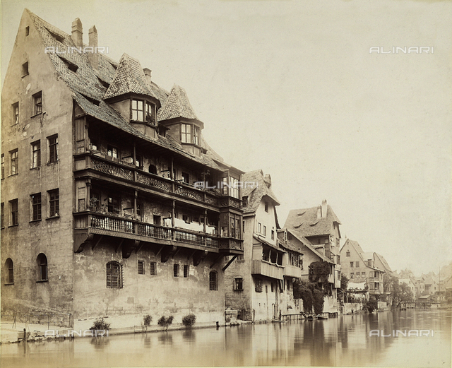 Ancient houses on the Pegnitz river in Nuremberg.