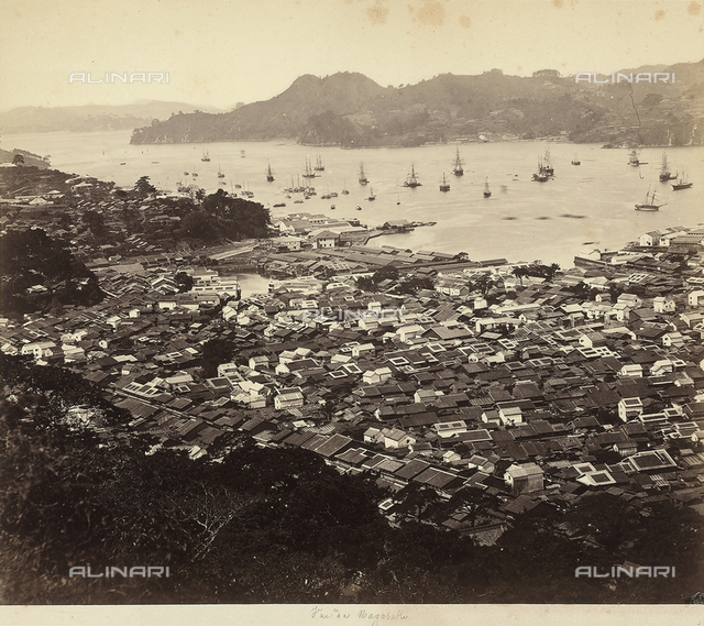 Panoramic view of Nagasaki, Japan.