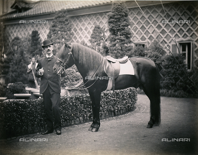 Westerner in Japan with his horse