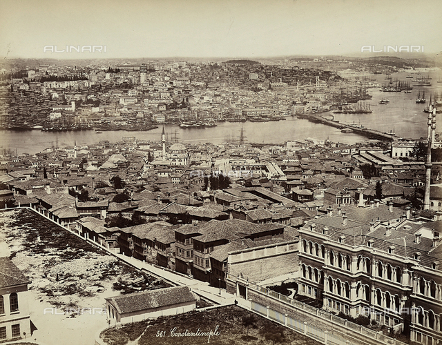 View of the city of Constantinople, Turkey, and the port area