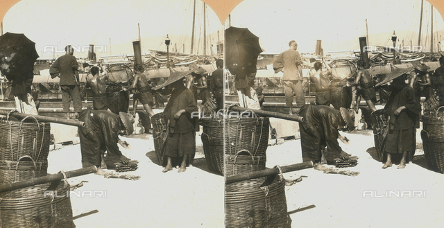 Fish market in Hong Kong. Stereoscopic image