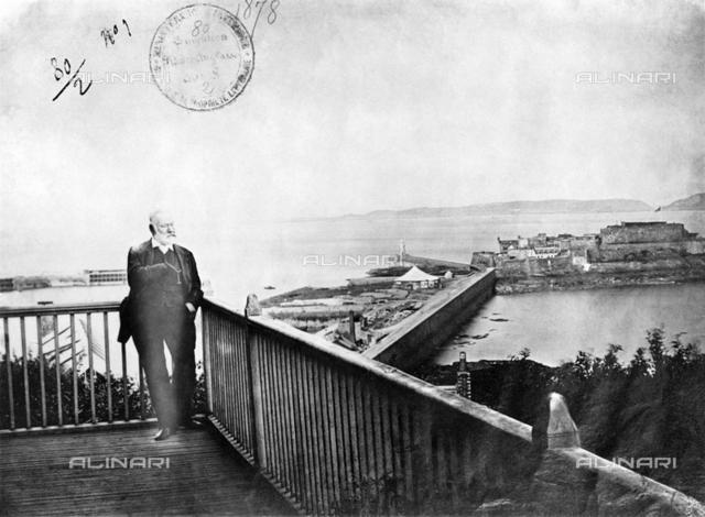 Victor Hugo on a terrace facing the sea