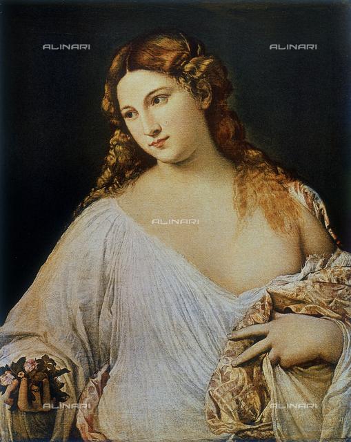 Flora; painting by Titian (Tiziano Vecellio). Uffizi Gallery, Florence