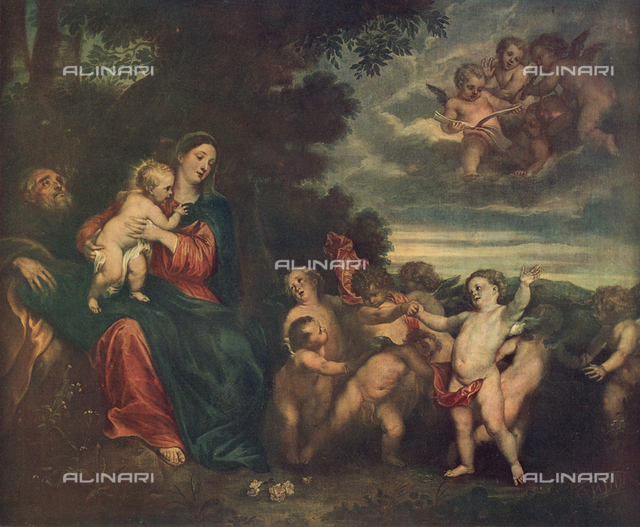 Rest during the flight into Egypt; painting by Anthony van Dyck, Palatine Gallery, Pitti Palace, Florence