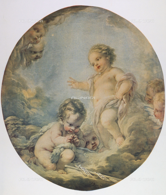 Baby Jesus and the infant St. John; painting by Francois Boucher, Uffizi Gallery, Florence
