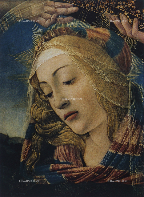 Face of the Virgin, detail of the Madonna del Magnificat, Galleria degli Uffizi, Florence