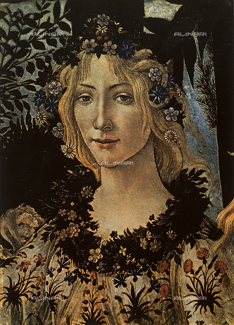 Flora; detail from Botticelli's Primavera. Uffizi Gallery, Florence