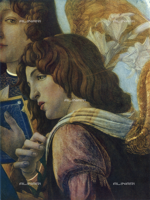 Madonna of the Pomegranate, close-up of the face of an angel, Uffizi Gallery, Florence
