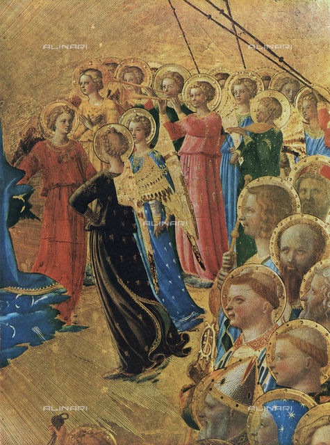 Coronation of the Virgin; detail of musician angels. Painting by Fra Angelico, Uffizi Gallery, Florence