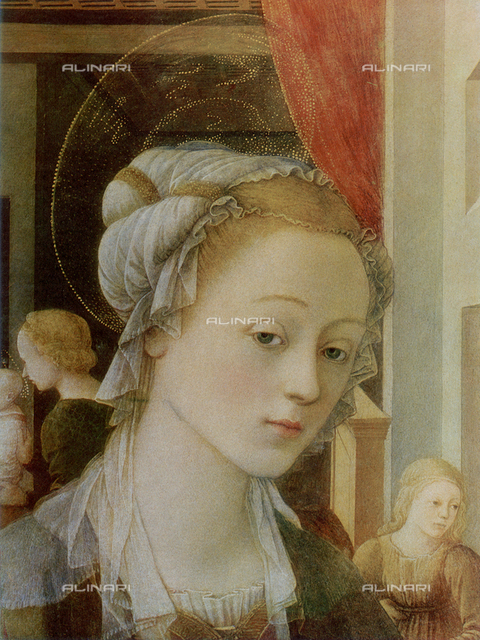 Madonna and Child; detail of the face of the Virgin, work of Filippo Lippi. Galleria Palatina, Palazzo Pitti, Florence