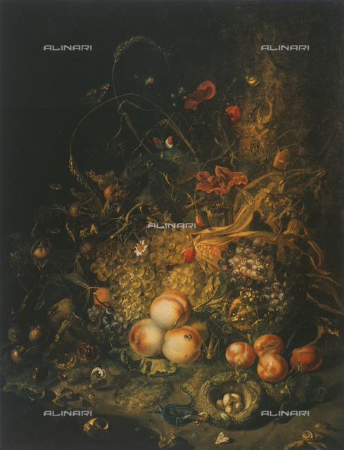 Still life with flowers, fruit and insects; Palatine Gallery, Palazzo Pitti, Florence