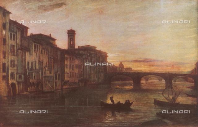 Ponte Santa Trinita in Florence; painting by Antonio Fontanesi, Modern Art Gallery, Palazzo Pitti, Florence