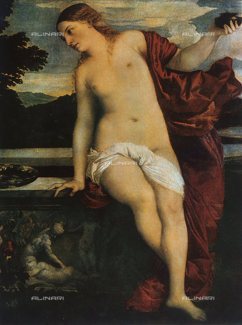 Profane Love, detail of the painting of Sacred and Profane Love, by Titian, located in the Galleria Borghese in Rome