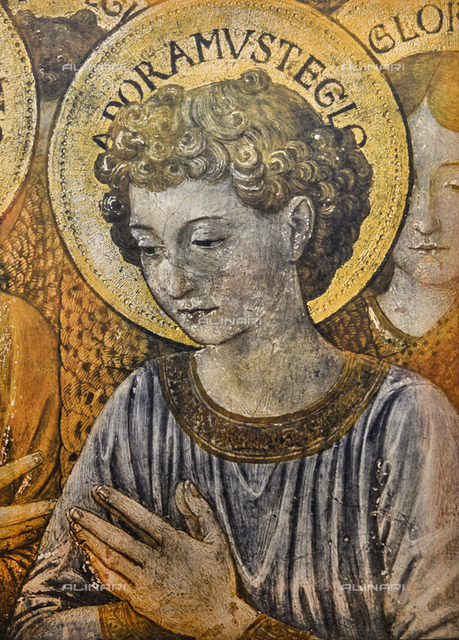 Face of an angel; right detail of the Adoring Angels, Magi Chapel, Palazzo Medici-Riccardi, Florence