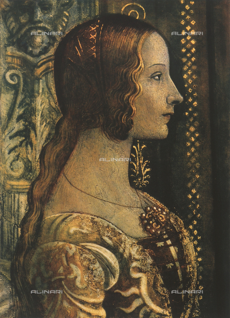 Portrait of Ludovica Tornabuoni; detail of the fresco with the Birth of Virgin, work of Domenico Ghirlandaio. Tornabuoni Chapel, Santa Maria Novella, Florence