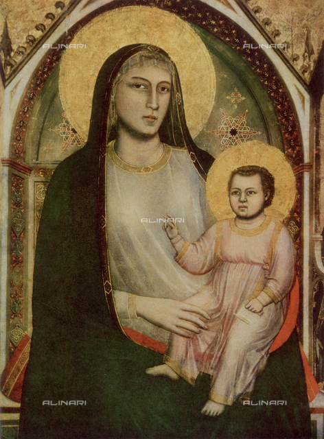 Madonna and Child; detail of the Ognissanti Madonna, panel painting with gold ground. Giotto di Bondone, Uffizi Gallery, Florence