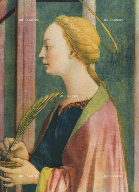 St. Lucy altarpiece, Sta. Lucia dei Magnoli, detail of St. Lucy; painting by Domenico Veneziano. Uffizi Gallery, Florence