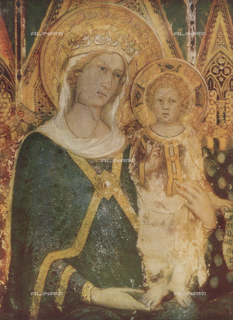Madonna with Child, detail of the Majesty, Simone Martini, Room of the Map of the World, Palazzo Pubblico, Siena.