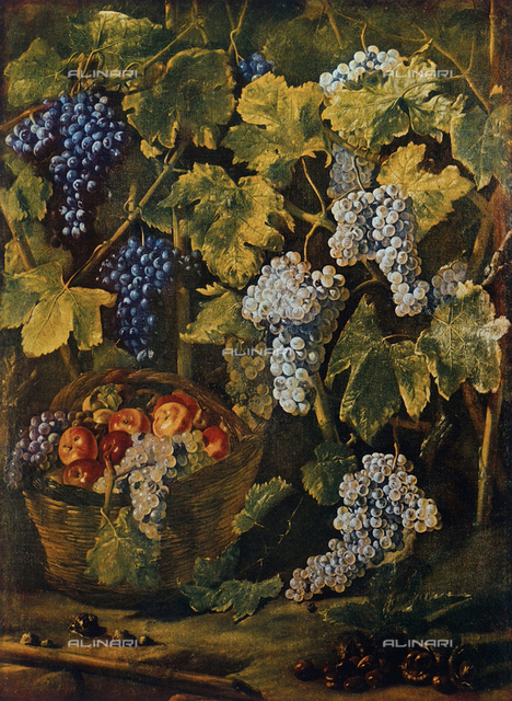 Still Life with a basket of fruit, chestnets and a background of vines and bunches of grapes, Campoli Gallery, Modena