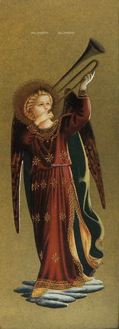 Musician angel with trumpet, detail of the Tabernacolo dei Linaioli, Museum of San Marco, Florence