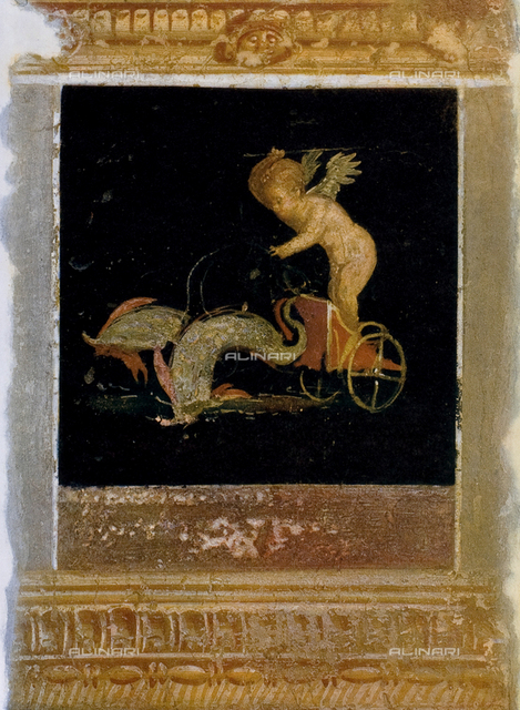 Cupid driving two dolphins, wall painting, House of the Vettii, archaeological excavations at Pompeii, Pompeii