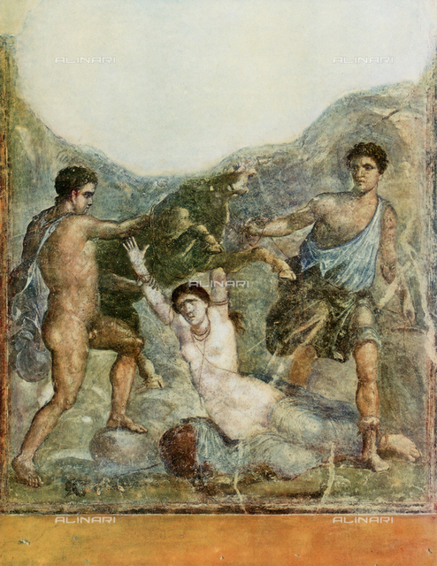 The punishment of Dirce; fresco from the House of the Vettii in Pompeii, National Archaeological Museum, Naples