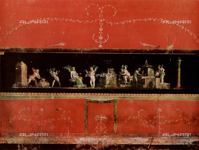 Cupids as Goldsmiths, fresco, House of Vettii, archaeological excavations, Pompeii