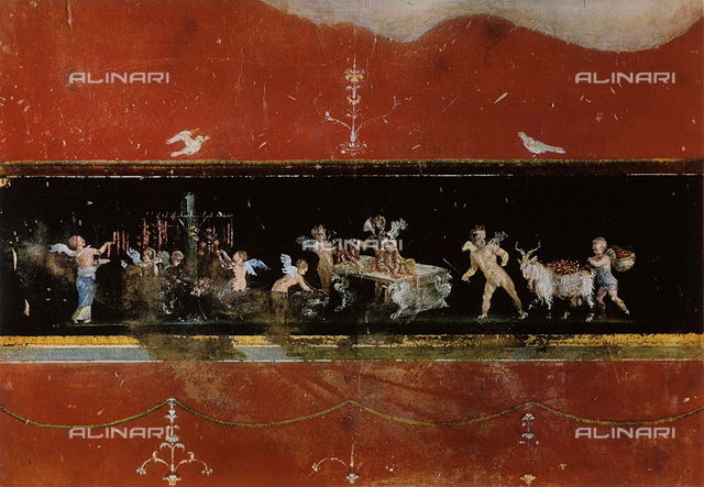 Florist cupids, fresco, House of Vettii, archaeological excavations, Pompeii