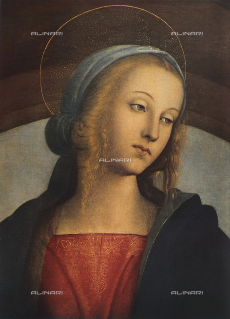 Madonna and Child with Saints, detail of the face of the Madonna, Galleria degli Uffizi, Florence