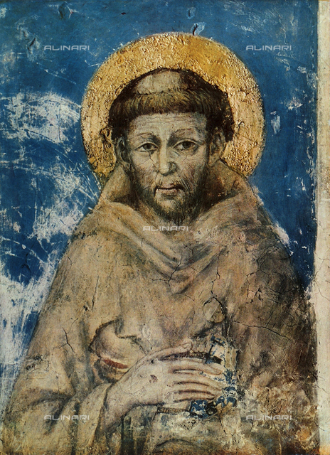 Portrait of St. Francis, Detail of the frescoes, Minor Church of S. Francesco, Assisi