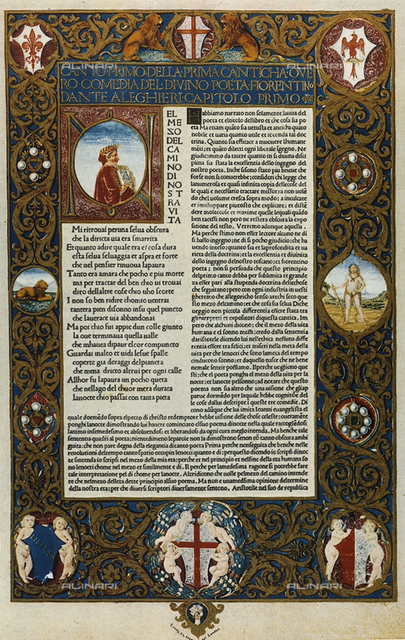 First Page of the Divine Comedy; codex preserved in the National Library of Florence and miniated by Attavante degli Attavanti
