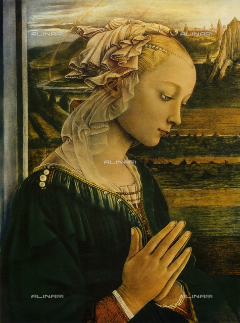 The Virgin. Madonna in prayer. Painting by Filippo Lippi, Uffizi Gallery, Florence