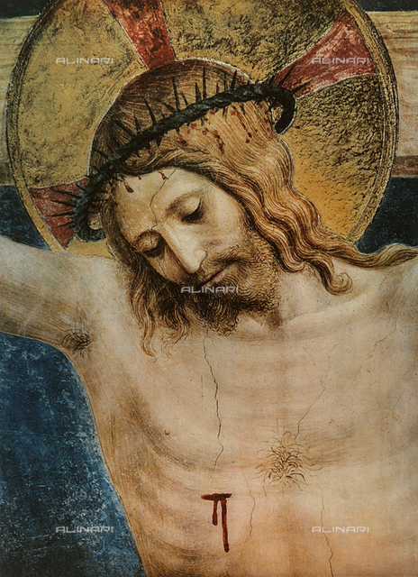 Crucifixion and San Domenico; detail of the face of Jesus; fresco by Fra Angelico. Museo di San Marco, Florence