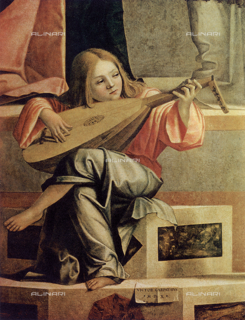 Musician angel, introduction of Jesus to the Temple, Accademia Galleries, Venice.