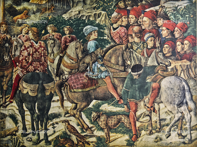 Giuliano de' Medici; detail of the affresco with the Procession of the Magi by Benozzo Gozzoli. Chapel of the Magi, Palazzo Medici Riccardi, Florence