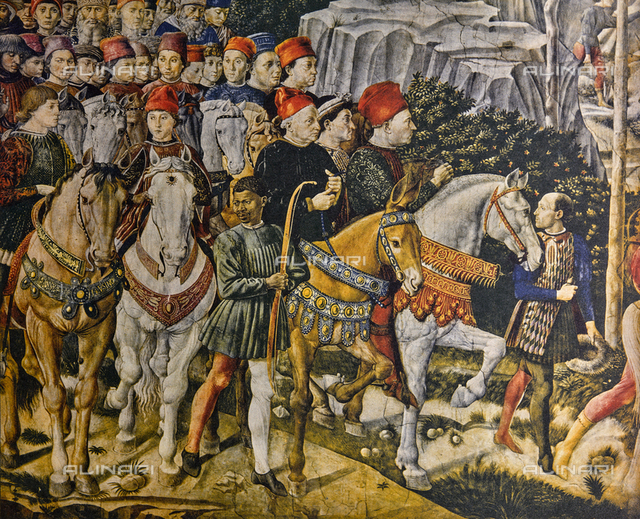 Piero dei Medici and others; detail of the Procession of the Magi. Chapel of the Magi, Palazzo Medici Riccardi, Florence