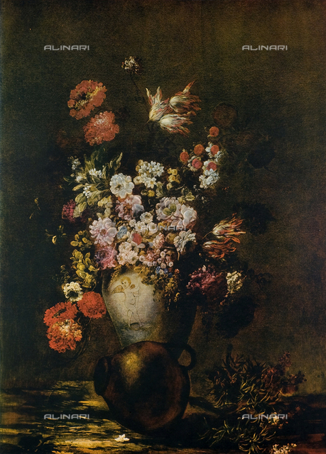 Vase of Flowers, oil on canvas, unknown Flemish 18th cen., The Uffizi Gallery, Florence