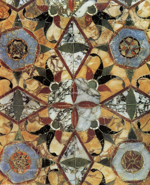 Mosaic with floral designs from Pompeii. Museo Archeological Nazionale, Naples