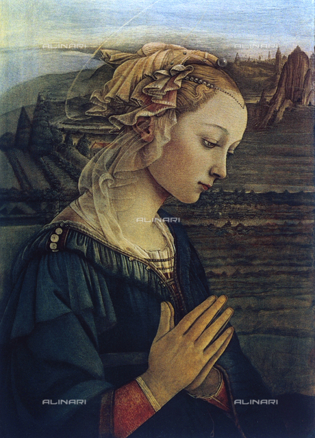 Madonna in prayer. Painting by Filippo Lippi, Uffizi Gallery, Florence