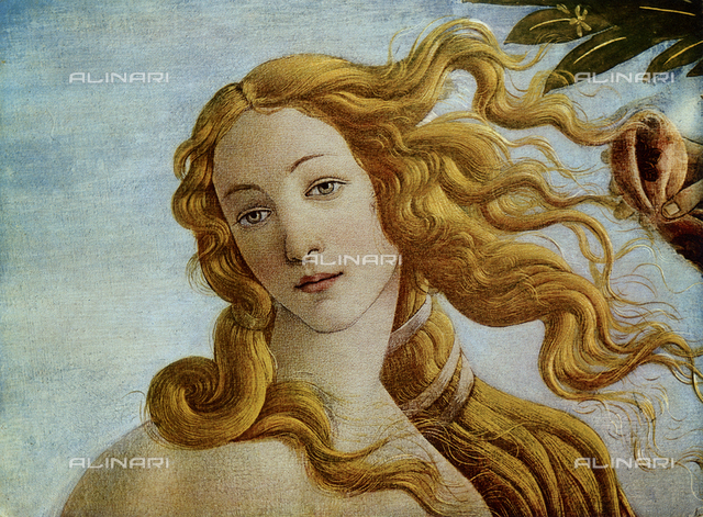 The Birth of Venus, detail of the face of Venus, Galleria degli Uffizi, Florence