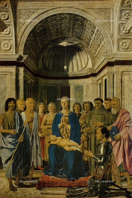 Conversation with the Holy Virgin and Child with Six Saints, four angels and the donor Federico da Montefeltro (called Pala Pala Montefeltro or Brera), tempera and oil on panel, Piero della Francesca (1416-1492), Pinacoteca di Brera, Milan