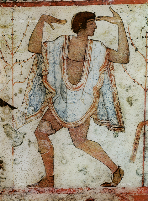 Dancer; detail of the frescoes from the Tomb of Triclinio, in the necropolis of Tarquinia. Museo Nazionale Taruquinese