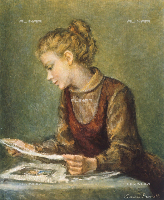 Girl studying; painting by Leonardo Pizzanelli. Private collection, Rome