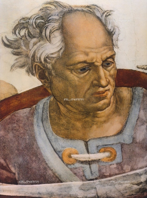 The Prophet Joel, detail of the face, Sistine Chapel, Vatican City