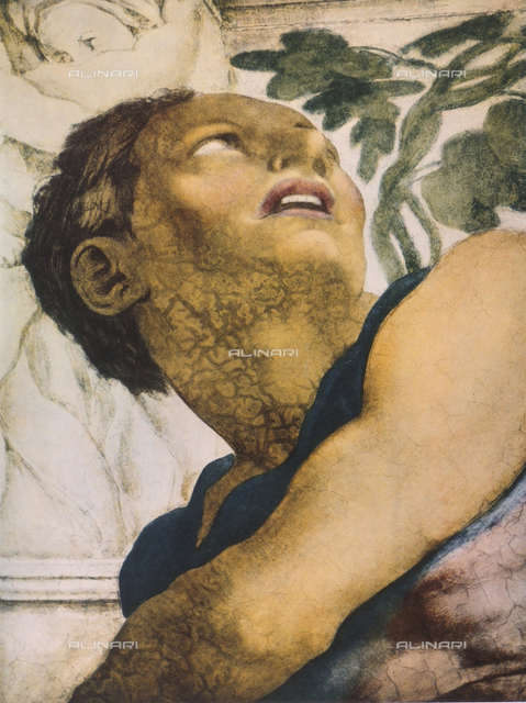 Prophet Jonah, detail of the face. Sistine Chapel, Vatican City