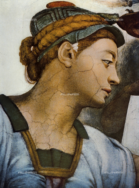 Eritrean Sibyl, detail of the face. Sistine Chapel, Vatican City