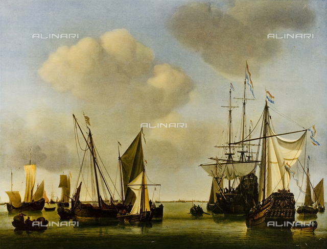 Still sea with war ships, Mauritshuis Museum, Aja.