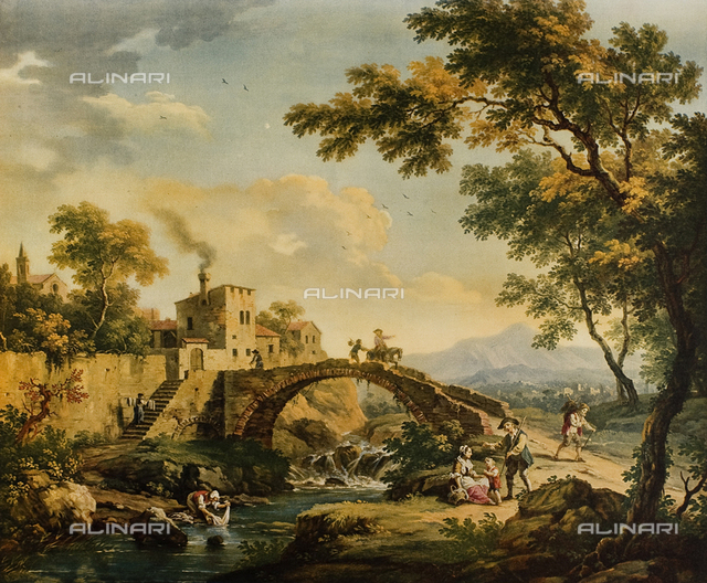 Landscape with bridge; painting by Vittorio Amedeo Cignaroli. Museo Civico di Arte Antica, Turin