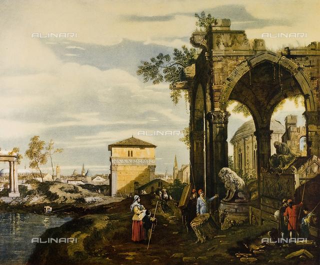 Paesaggio, olio su tela, Canaletto, Giovanni Antonio Canal, detto il (1697-1768), esposto alla Seconda Mostra Nazionale delle Opere d'Arte Recuperate di Firenze